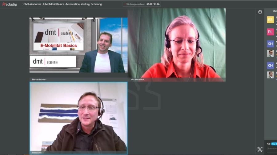 Markus Emmer, Julia Maulahrdt und Peter Löck leiteten das Webinar